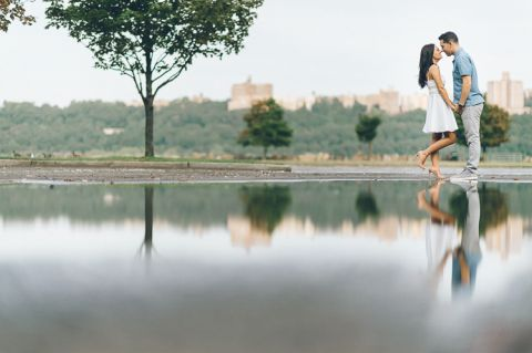 GW Bridge engagement session in Fort Lee, captured by North Jersey wedding photographer Ben Lau.