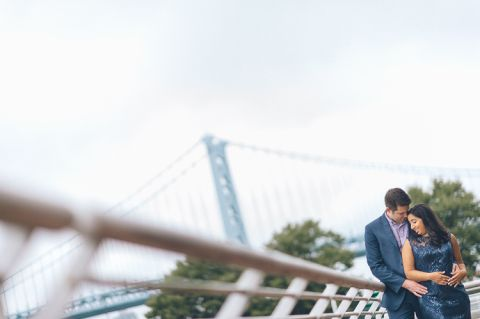 Camden Waterfront engagement session captured by NJ wedding photographer Ben Lau.