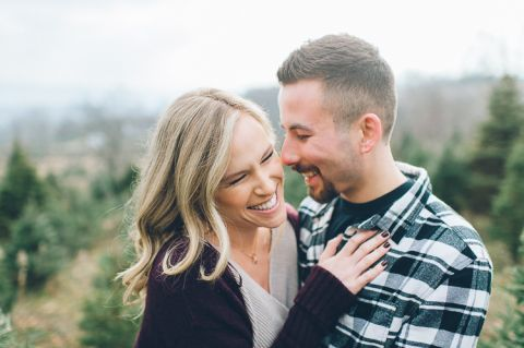 Christmas tree farm engagement session in Sussex, NJ - captured by North Jersey wedding photographer Ben Lau.