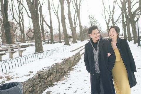 NYC engagement session at Fort Tryon, Bryant Park and the New York Public Library, captured by NYC wedding photographer Ben Lau.