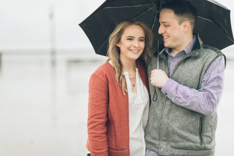 Rainy Hoboken engagement session captured by North Jersey wedding photographer Ben Lau.