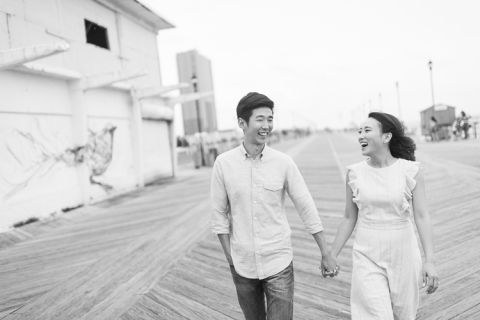 Asbury Park engagement session down the Jersey Shore, captured by fun Jersey Shore wedding photographer Ben Lau.